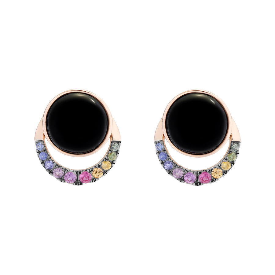 LALUNA EARRINGS ONYX & RAINBOW SAPPHIRES