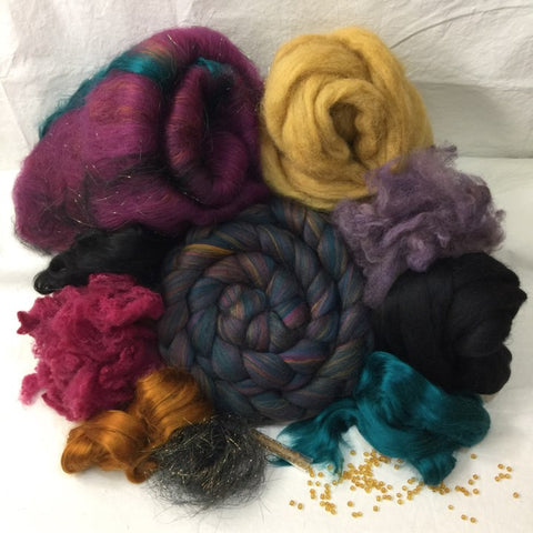 Napa Valley Fiber Spinning Club Kit 9_17 Aurora Borealis Wool Top