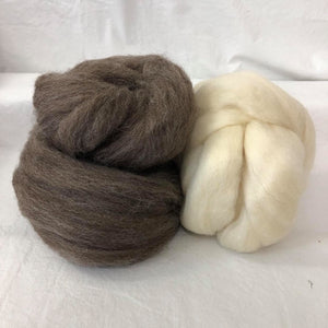 Natural Brown & White BFL Wool Top Bundle ~ Natural Spinning Fiber