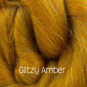 "Glitzy ""Beaming Amber""! Merino / Rainbow Nylon Combed Top / (70/30%) / 1 oz spinning fiber"