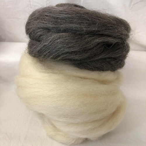 Grey & White Gotland Wool Top Bundle ~ Natural Spinning Fiber