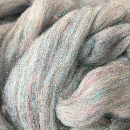 Glittering Rainbow ~ Merino Stellina Combed Top ~ Luxury Spinning Fiber / 1 oz