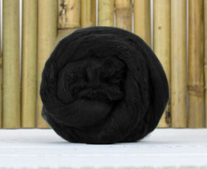 Bamboo Top Dyed Spinning Fiber ~ Black / 2 Oz