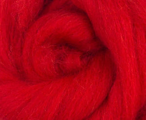 Blue Faced Leicester Dyed Wool Top Scarlet 4 Oz Fiber