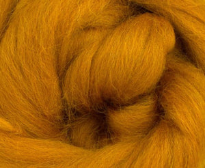 Corriedale Dyed Wool Top ~ Amber 4 Oz Fiber
