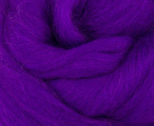 Corriedale Dyed Wool Top ~ Violet 4 Oz Fiber