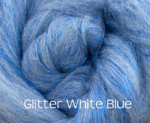 Glitter White/Blue ~ Merino Stellina Glitter Combed Top ~ Luxury Spinning Fiber / 1 oz