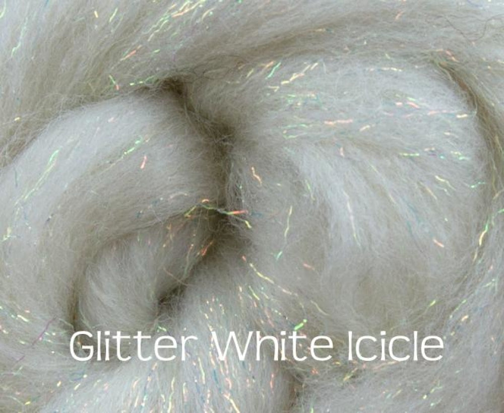 Glitter White/Icicle ~ Merino Stellina Glitter Combed Top ~ Luxury Spinning Fiber / 1 oz