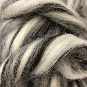 Icelandic Wool ~ Humbug Natural White Grey & Black Top 4 Oz Dyed Fiber