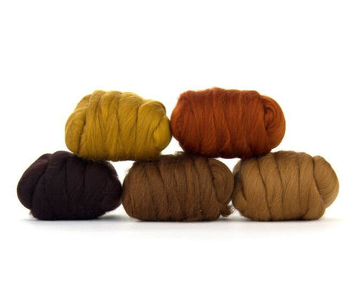 Napa Valley Fibers Barky Brown Merino Mixed Bag Dyed Fiber
