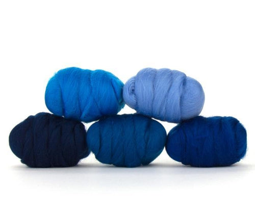Napa Valley Fibers Delta Blue Merino Mixed Bag Dyed Fiber