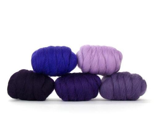 Napa Valley Fibers Plush Purple Merino Mixed Bag Dyed Fiber