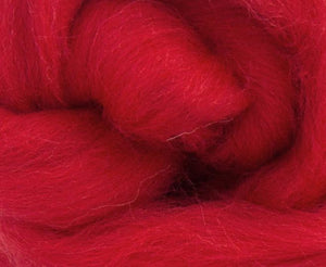Shetland Dyed Wool Top Poppy ~ 4 Oz Fiber