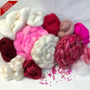 Silk Rose #2: Triple Play ~ Ultimate Luxury Spinning Kit With White Cashmere! Enameled Sheep Stitch