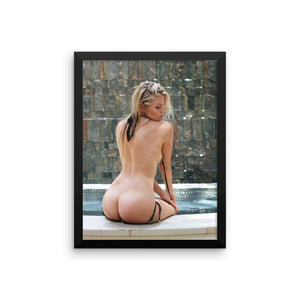 """Poolside"" Framed Art Poster by Benji"
