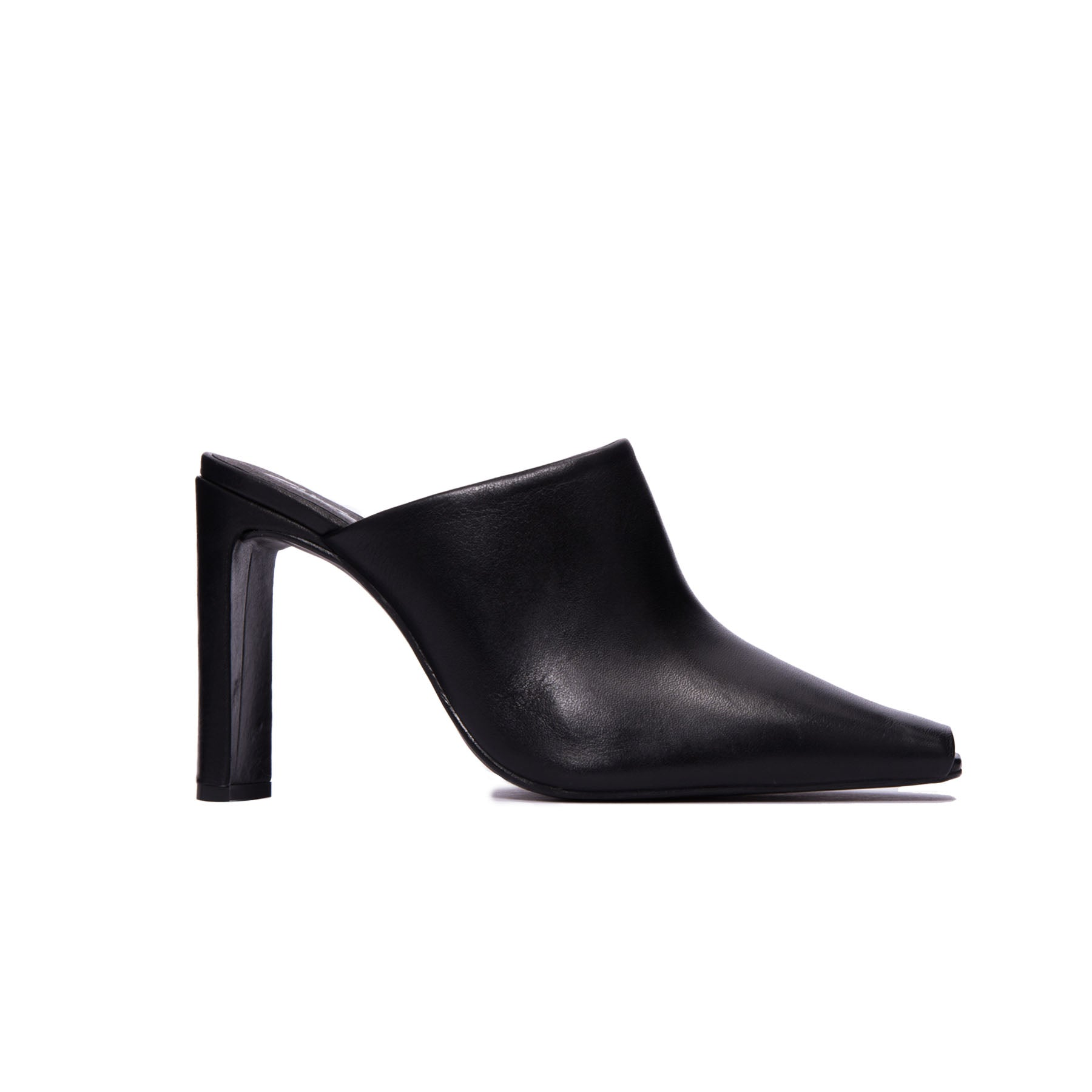 Elegant Black Leather Mule