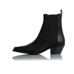 Virginia Black Leather Ankle Boots