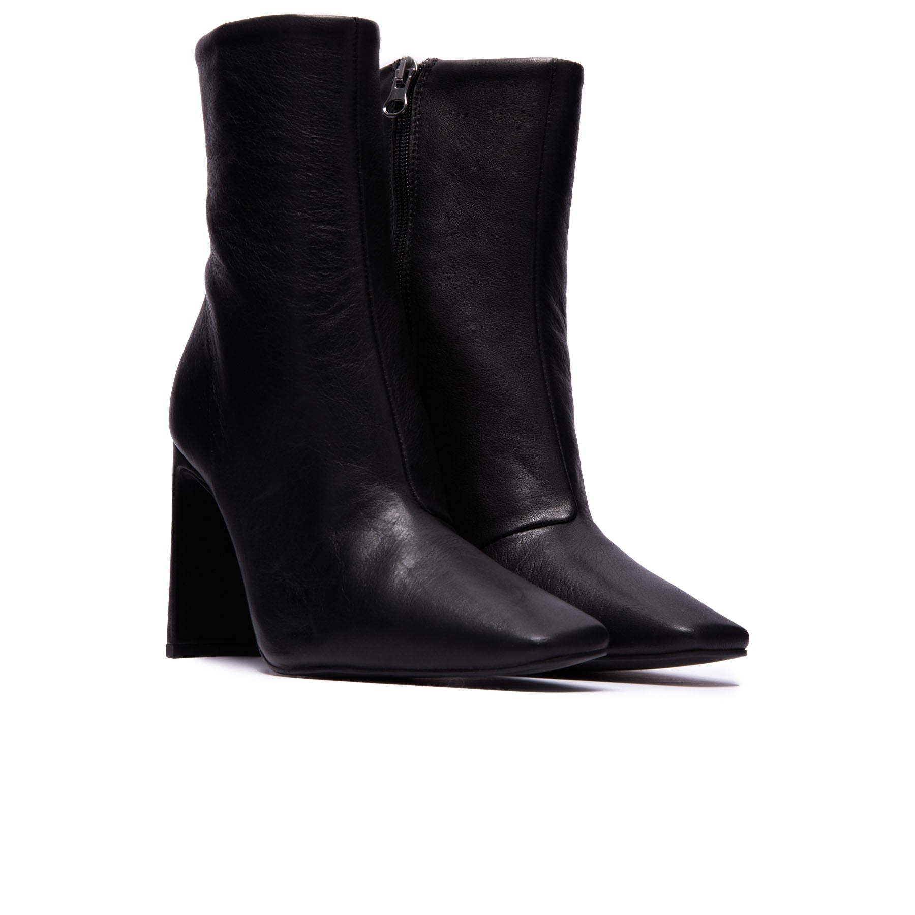 Lyon Black Leather Ankle Boots