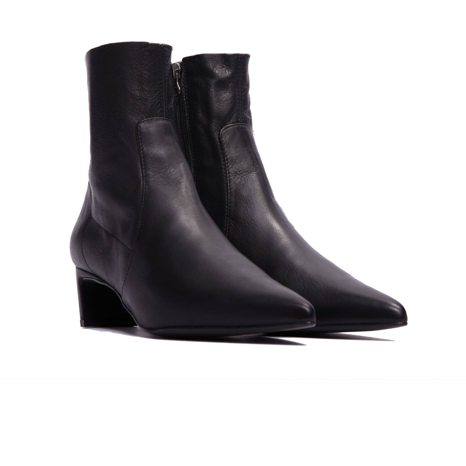 Paola Black Leather Ankle Boots