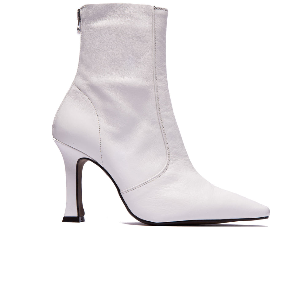 Dukette White Leather Boots