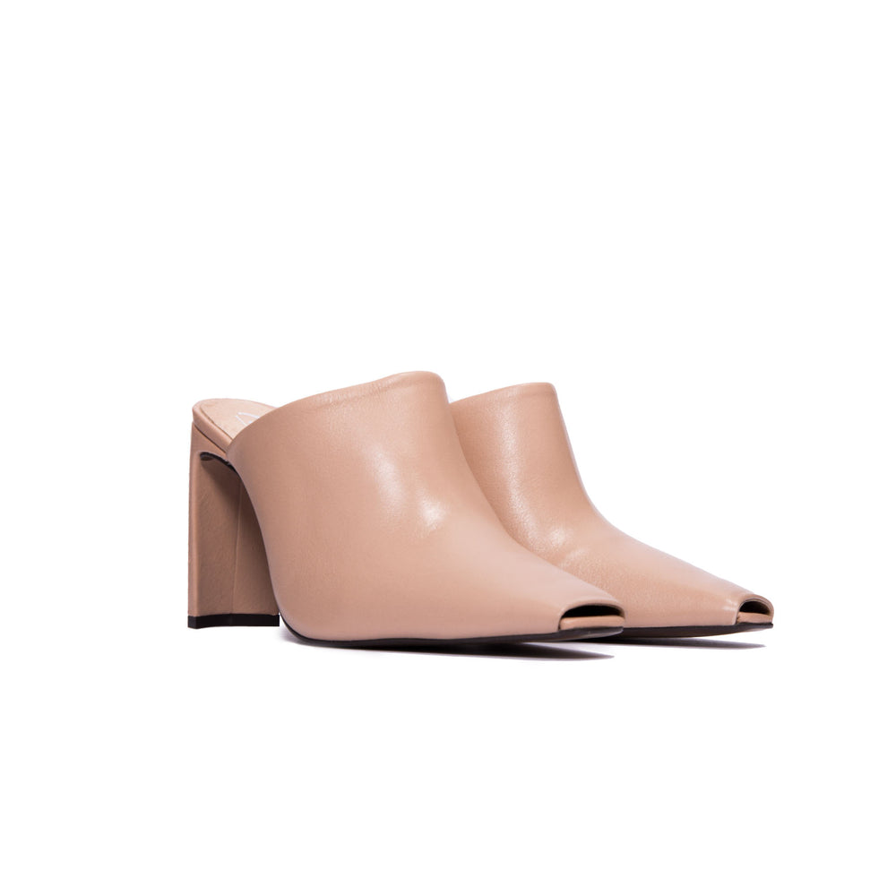 Elegant Blush Leather Mule