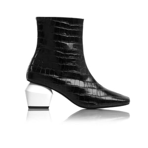 Christina Black Croco Ankle Boots
