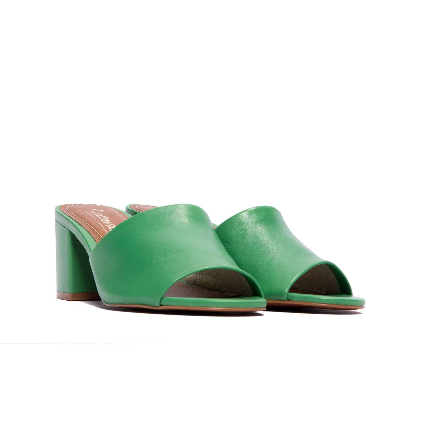 Dina Green Leather Mules