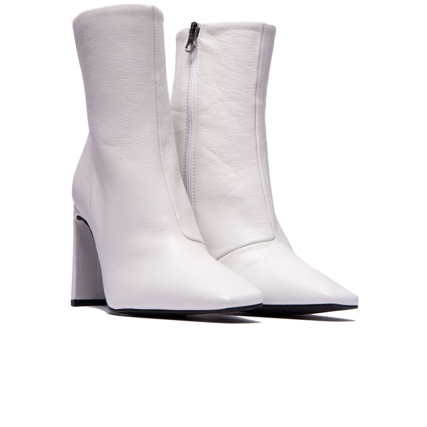Lyon White Leather Ankle Boots