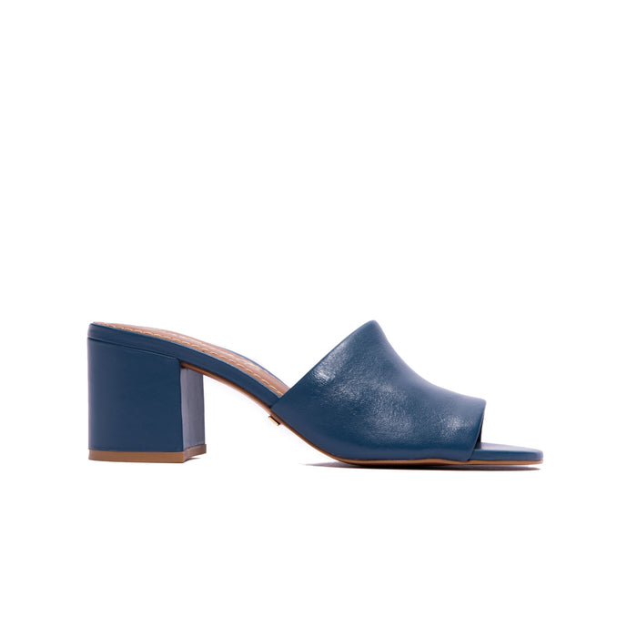 Dina Indigo Leather Mules