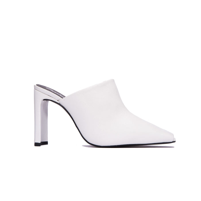 Elegant White Leather Mule