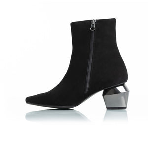 Christina Black Suede Ankle Boots