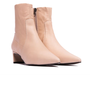 Paola Nude Leather Ankle Boots
