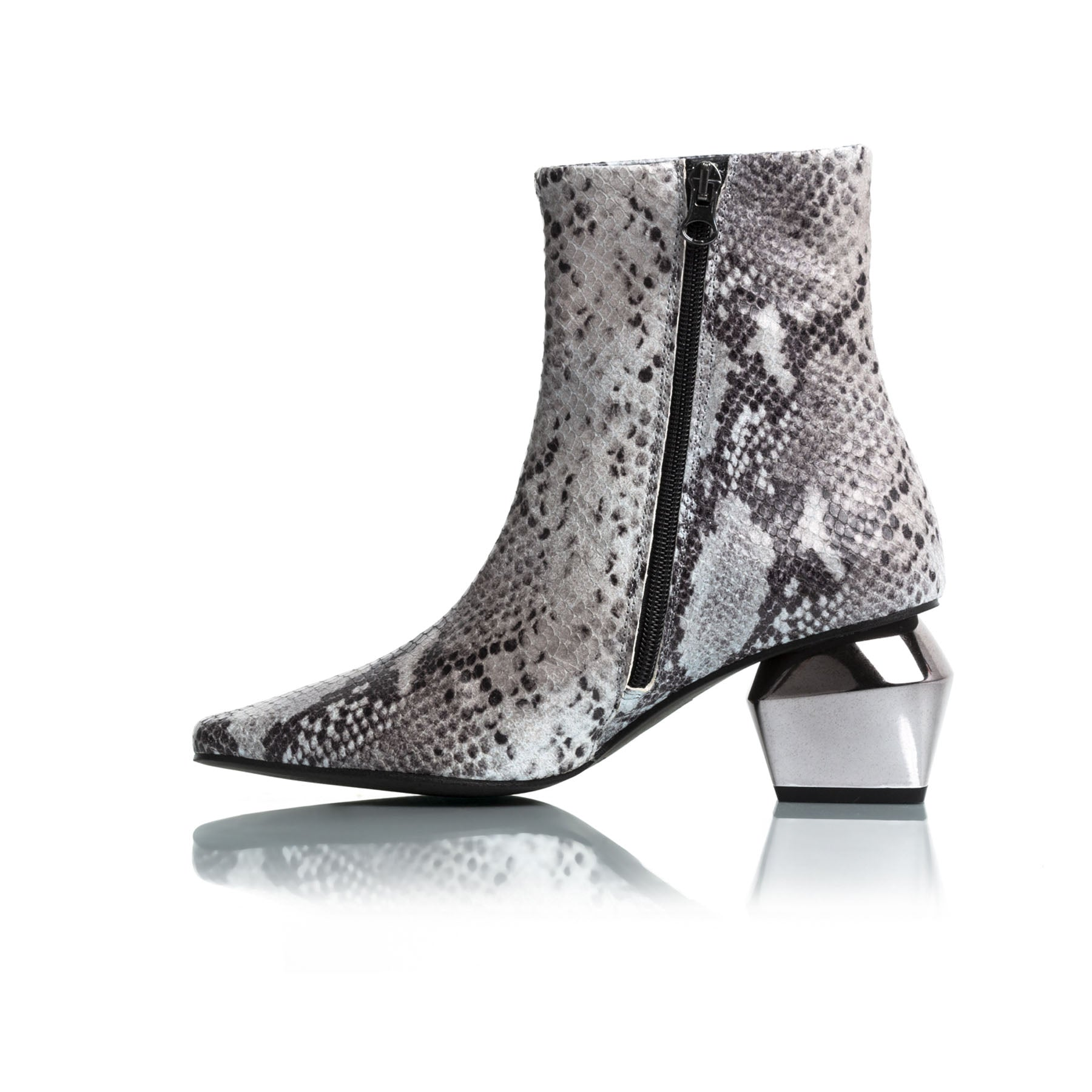 Christina Grey Snake Ankle Boots