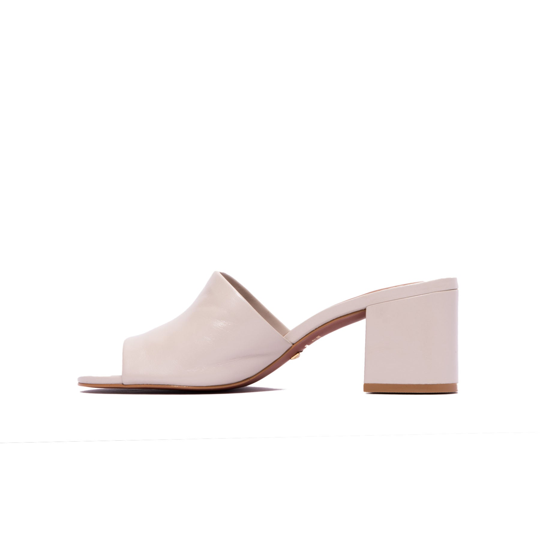 Dina Light Grey Leather Mules