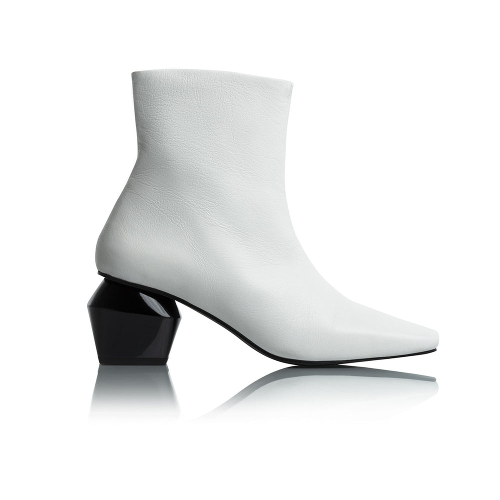 Christina White Leather Ankle Boots
