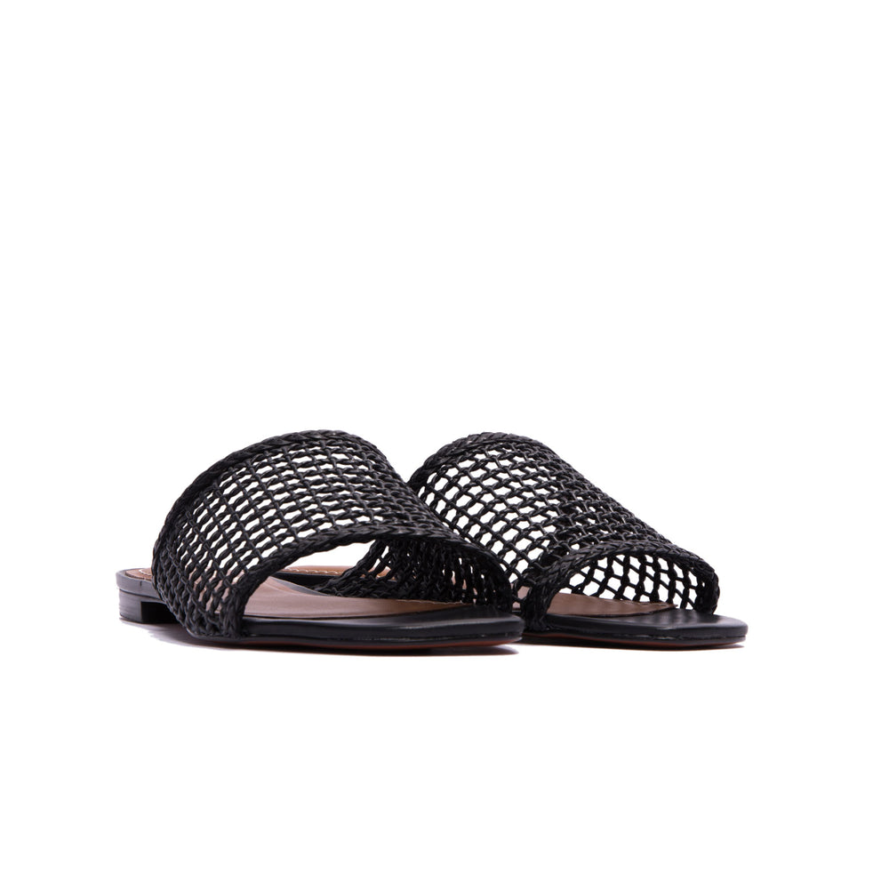 Load image into Gallery viewer, Plato Black Leather Flat Sandals