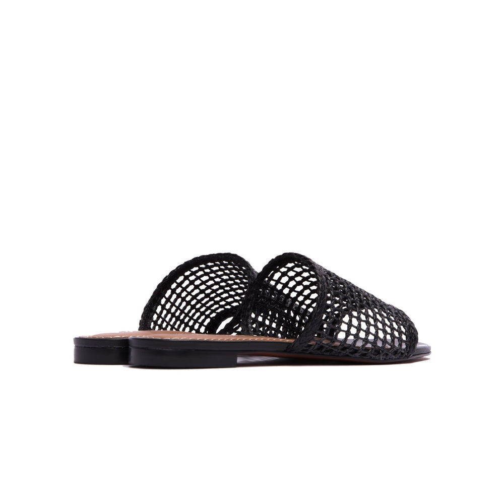 Plato Black Leather Flat Sandals