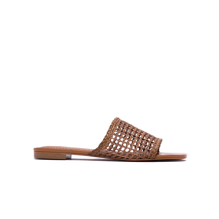 Plato Chestnut Leather Flat Sandals