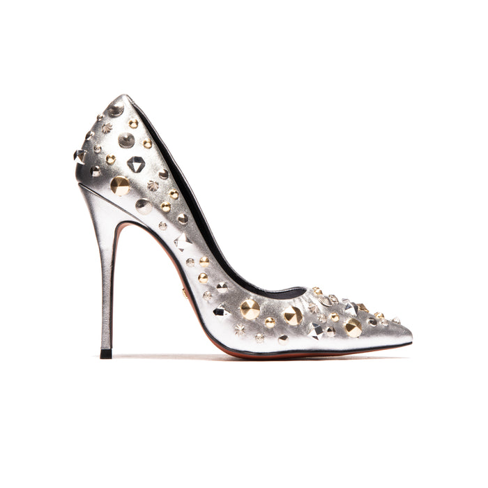 Tabatha Silver Metallic Leather