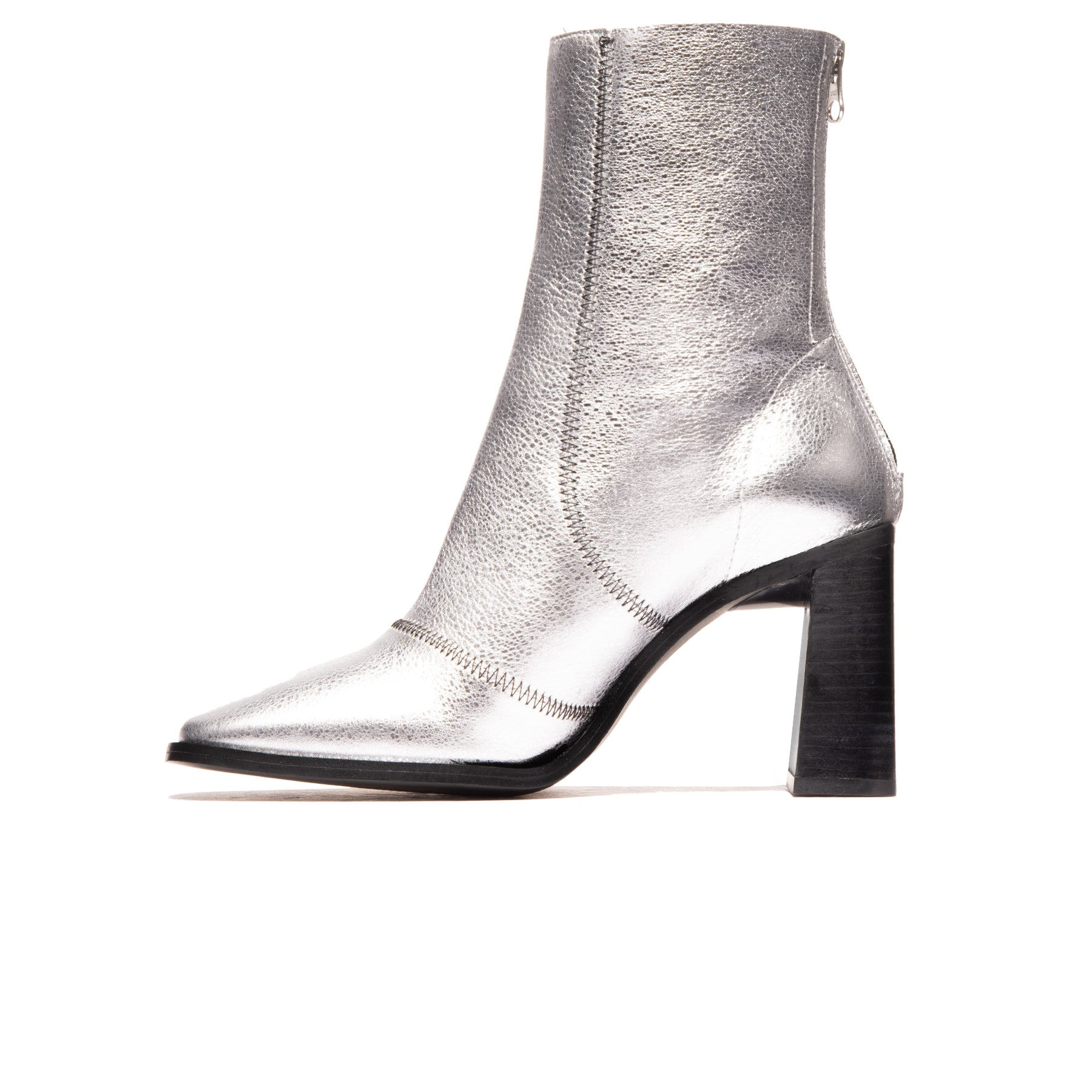 Ambar Silver Metallic Leather