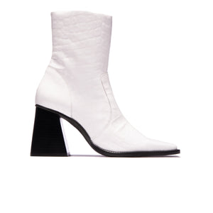 Melana White Croco Leather