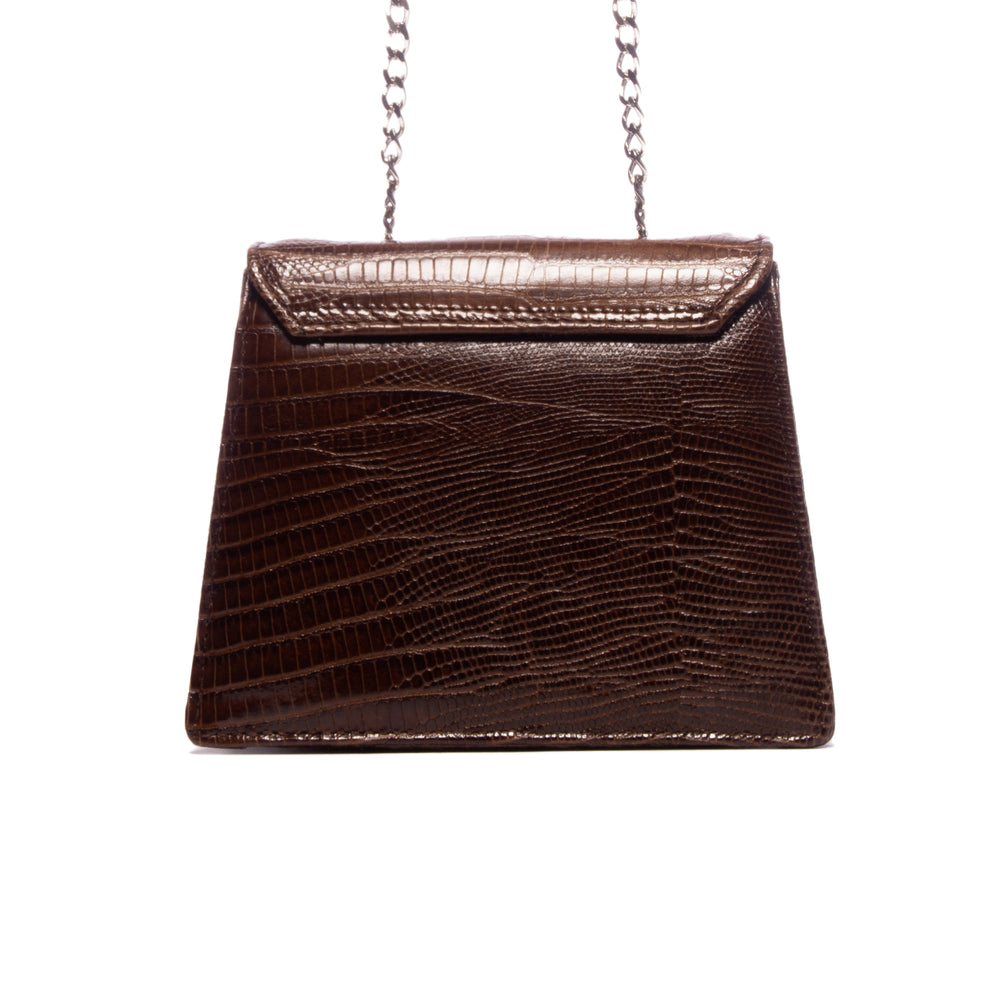 Load image into Gallery viewer, Kya Brown Lizard Leather Mini Bag