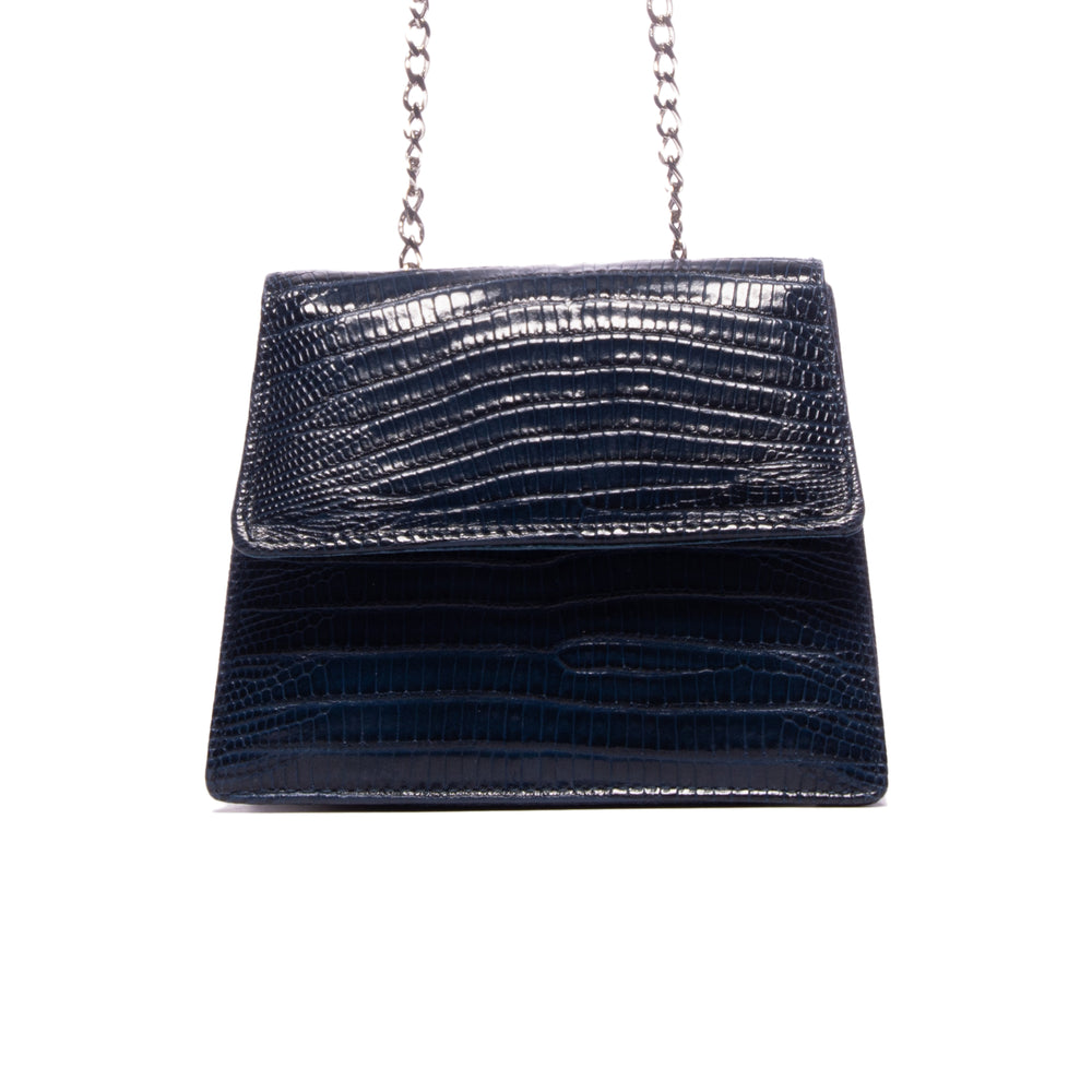 Kya Blue Lizard Leather Mini Bag