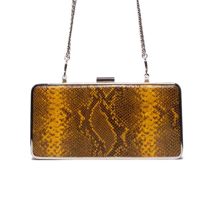 Theodore Yellow Snake Leather Clutch