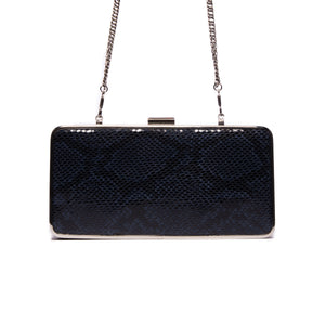 Theodore Blue Snake Leather Clutch