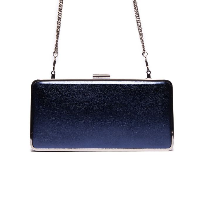 Theodore Blue Metallic Leather Clutch