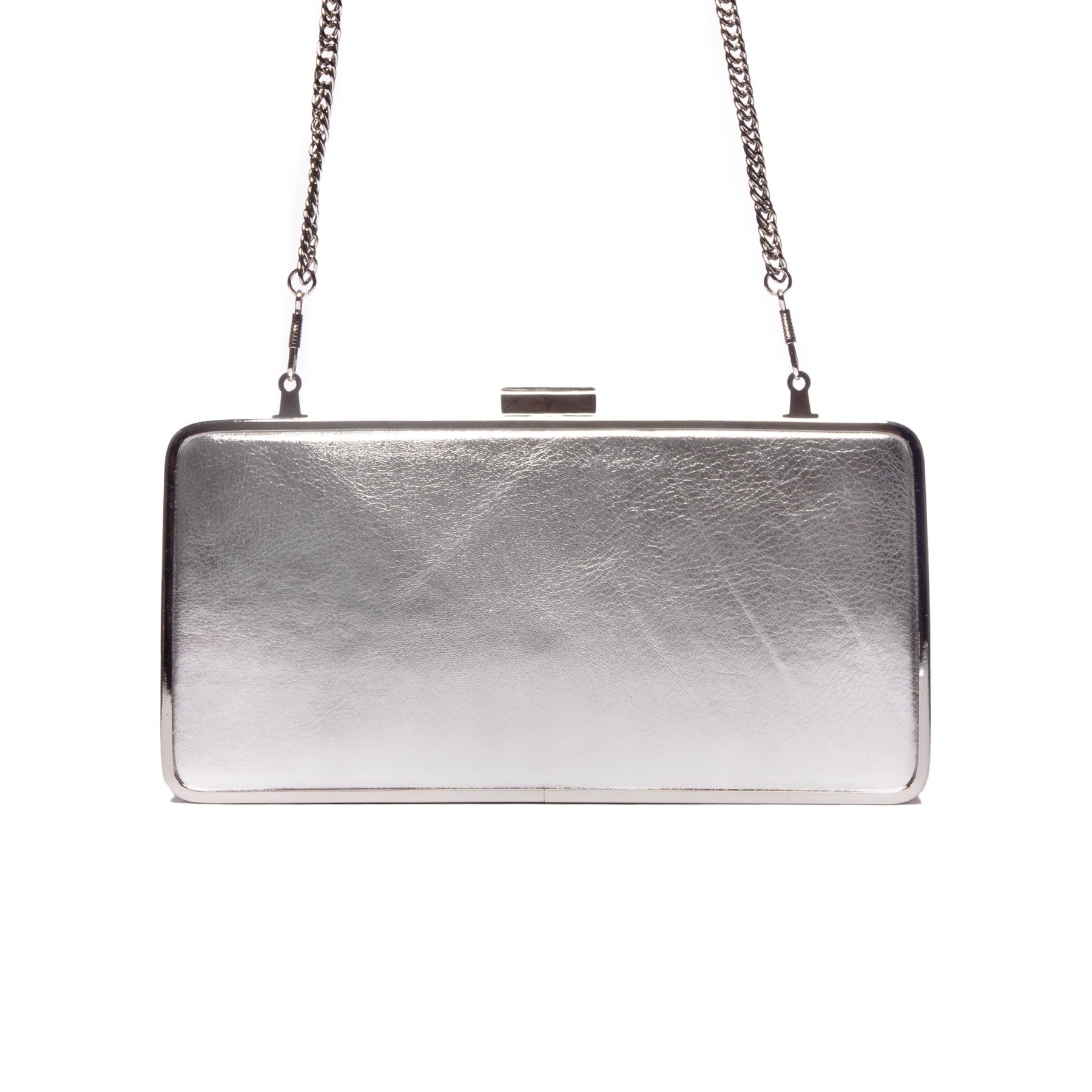 Theodore Silver Metallic Leather Clutch