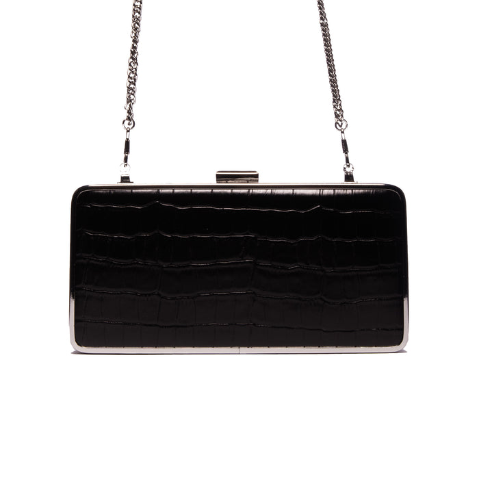 Theodore Black Croco Leather Clutch