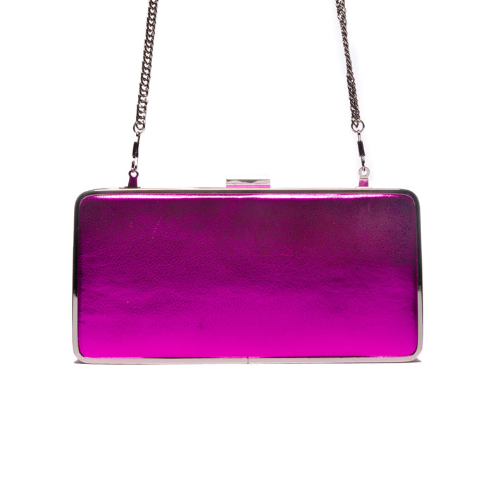 Theodore Fushcia Metallic Leather Clutch