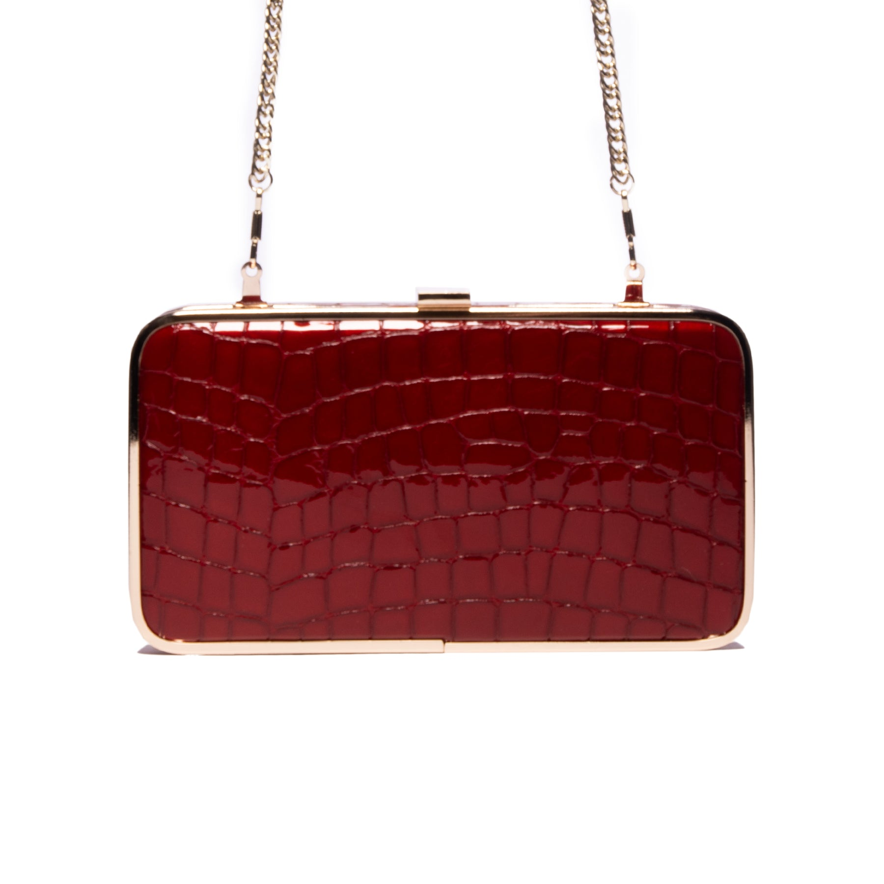 Thais Red Croco Leather Clutch